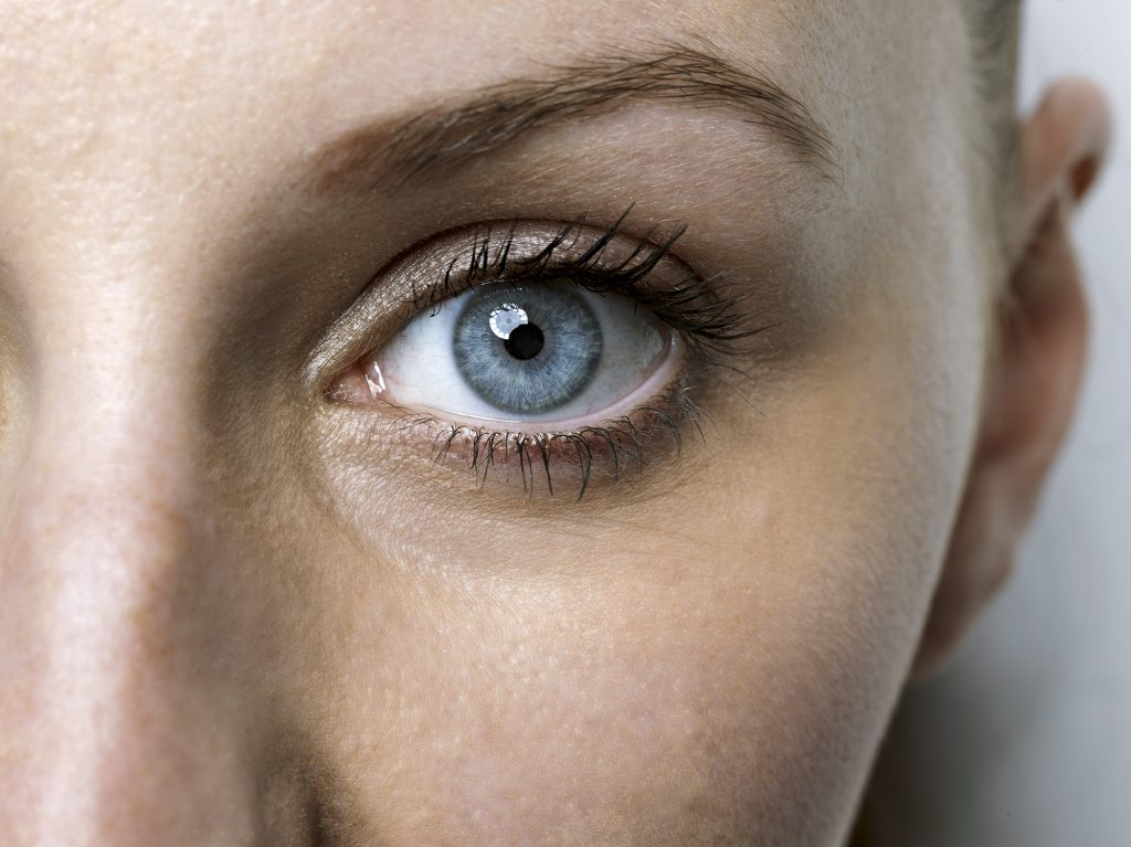 Close-up of blue eye of a young woman; Shutterstock ID 320103758